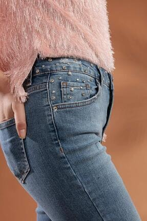 Pattaya Kadın Slim Boyfriend Taşlı Paça Detaylı Kot Pantolon 10275 2