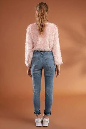 Pattaya Kadın Slim Boyfriend Taşlı Paça Detaylı Kot Pantolon 10275 3