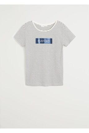 Mango Kadın Lacivert Pamuklu Logolu Tişört 67000604 1