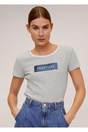 Mango Kadın Lacivert Pamuklu Logolu Tişört 67000604 0