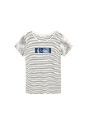 Mango Kadın Lacivert Pamuklu Logolu Tişört 67000604 3