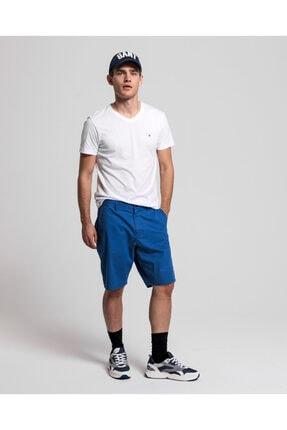 Gant Erkek Beyaz Slim Fit V Yaka T-Shirt 4