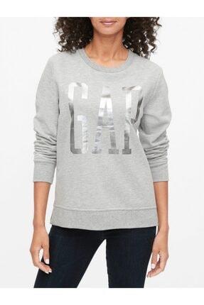 GAP Kadın Gri Logo Yuvarlak Yaka Sweatshirt 0