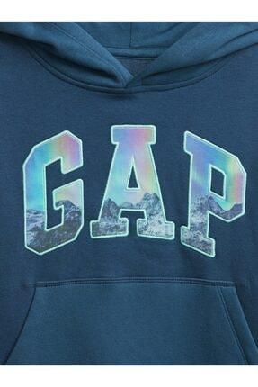 GAP Erkek Çocuk Mavi Logo Kapüşonlu Sweatshirt 2