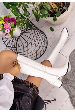 LUKKA Kadın Beyaz Deri Cilt Sivri Çizme 1