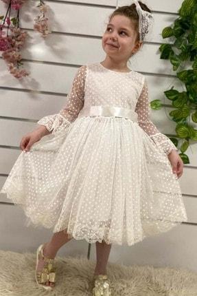 Buse&Eylül Bebe Beyaz Dantelli Kız Çocuk Elbise 3