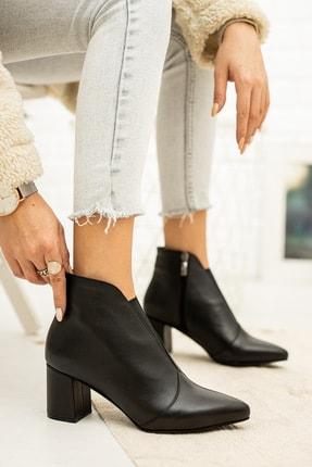 Zeus Sandals Kadın Siyah Hakiki Deri Günlük Kullanım Fermuarlı Topuklu Klasik Bot 0