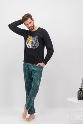 تصویر از 235 Tiger Face Siyah Erkek Çocuk Pijama Takımı