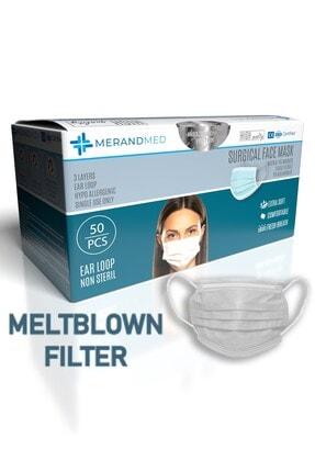 Merand Global 3 Katlı Meltblown-spunbond Cerrahi Maske - 1 Kutu ( Kutu Içi 50 Adet ) - Beyaz 0