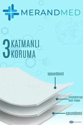 Merand Global 3 Katlı Meltblown-spunbond Cerrahi Maske - 1 Kutu ( Kutu Içi 50 Adet ) - Beyaz 2