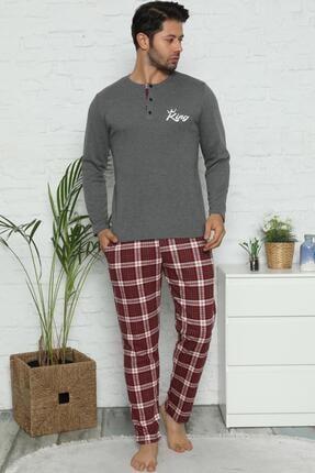 Pijamaevi King Baskılı Uzun Kollu Erkek Pijama Takımı 0