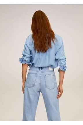 Mango Kadın Donuk Mavi Cepli Gömlek 67025971 1