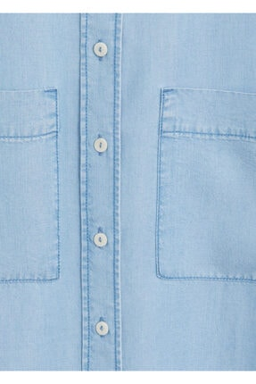 Mango Kadın Donuk Mavi Cepli Gömlek 67025971 3