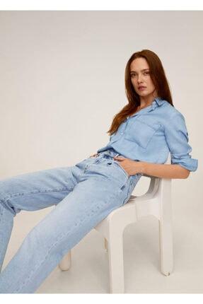 Mango Kadın Donuk Mavi Cepli Gömlek 67025971 4