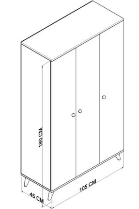 TOCCO 1081 Izel 3 Kapaklı Askılıklı Raflı Lüx Gardırop 3