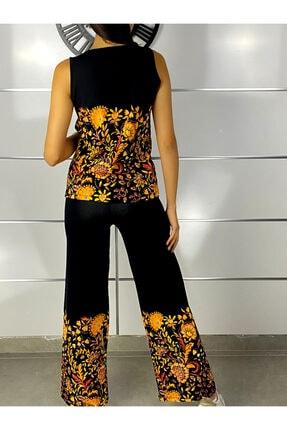 ELBİSENN Kadın Siyah Kolsuz Bluz Pantolon Ikili Takım 2