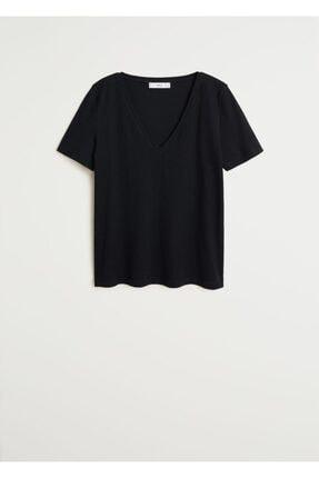 Mango Kadın Siyah V Yakalı Pamuklu Tişört 67084384 0