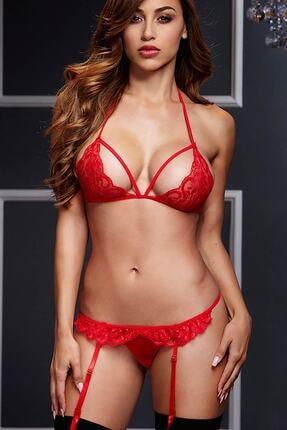 Merry See Kadın Kırmızı Dantel Jartiyer Takım ve Çorap 0