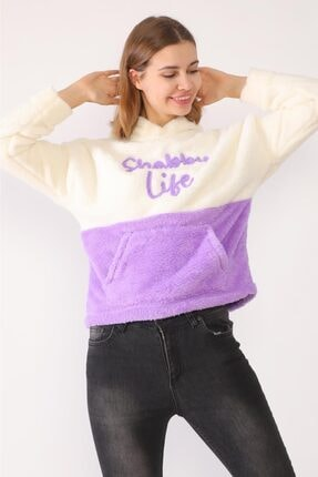 trendolur Kadın Lila Nakışlı Welsoft Kapüşonlu Sweatshirt 2