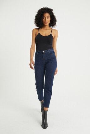 BOSHETTI Kadın Indigo Yüksel Bel Mom Slim Fit Jeans 0