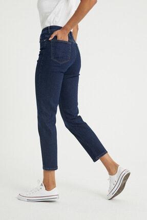 BOSHETTI Kadın Indigo Yüksel Bel Mom Slim Fit Jeans 4