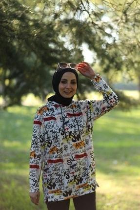 CARDİ Kadın Beyaz Baskılı Kapüşonlu Sweatshirt 1