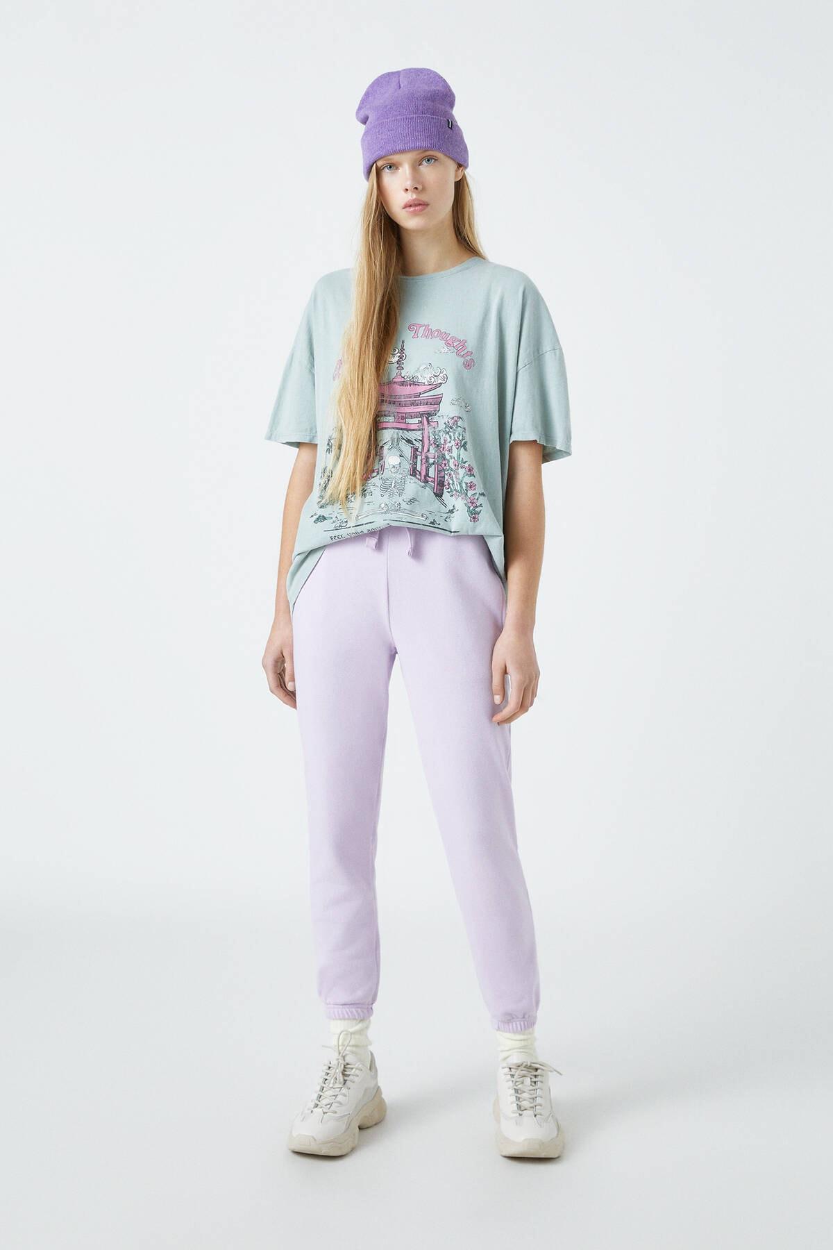 Pull & Bear Kadın Orta Haki Pembe Tapınak Görselli T-Shirt 04240328 1