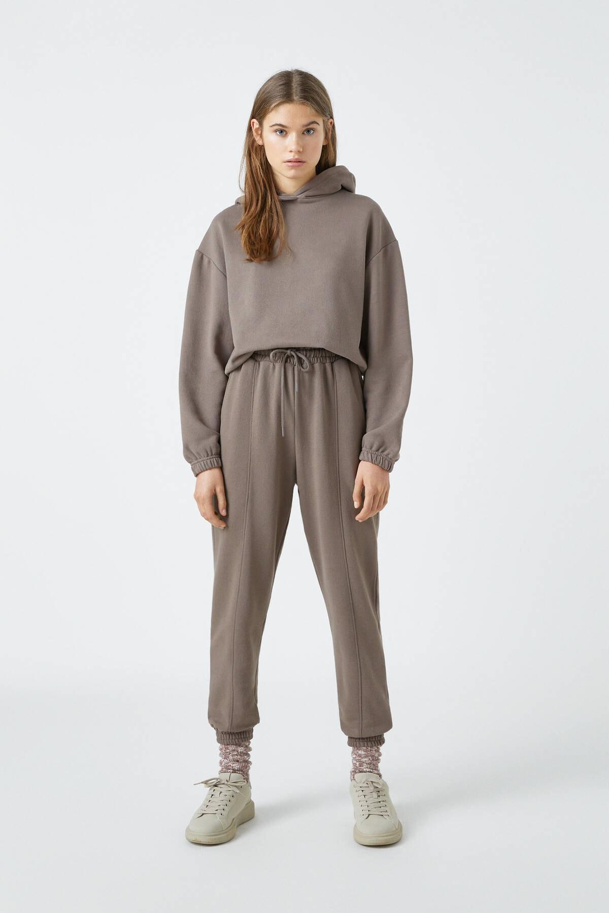 Pull & Bear Kadın Boz Gri Elastik Kenarlı Kapüşonlu Sweatshirt 04591309 2