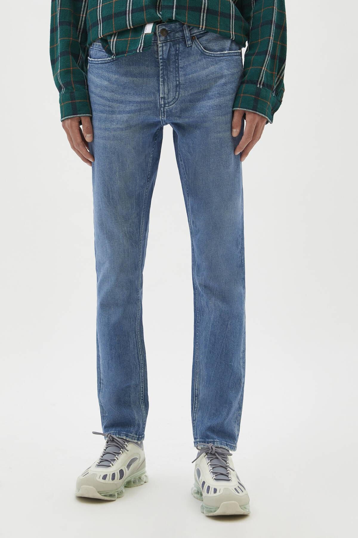 Pull & Bear Erkek Yeşilimsi Mavi Comfort Slim Fit Jean 04681504 2