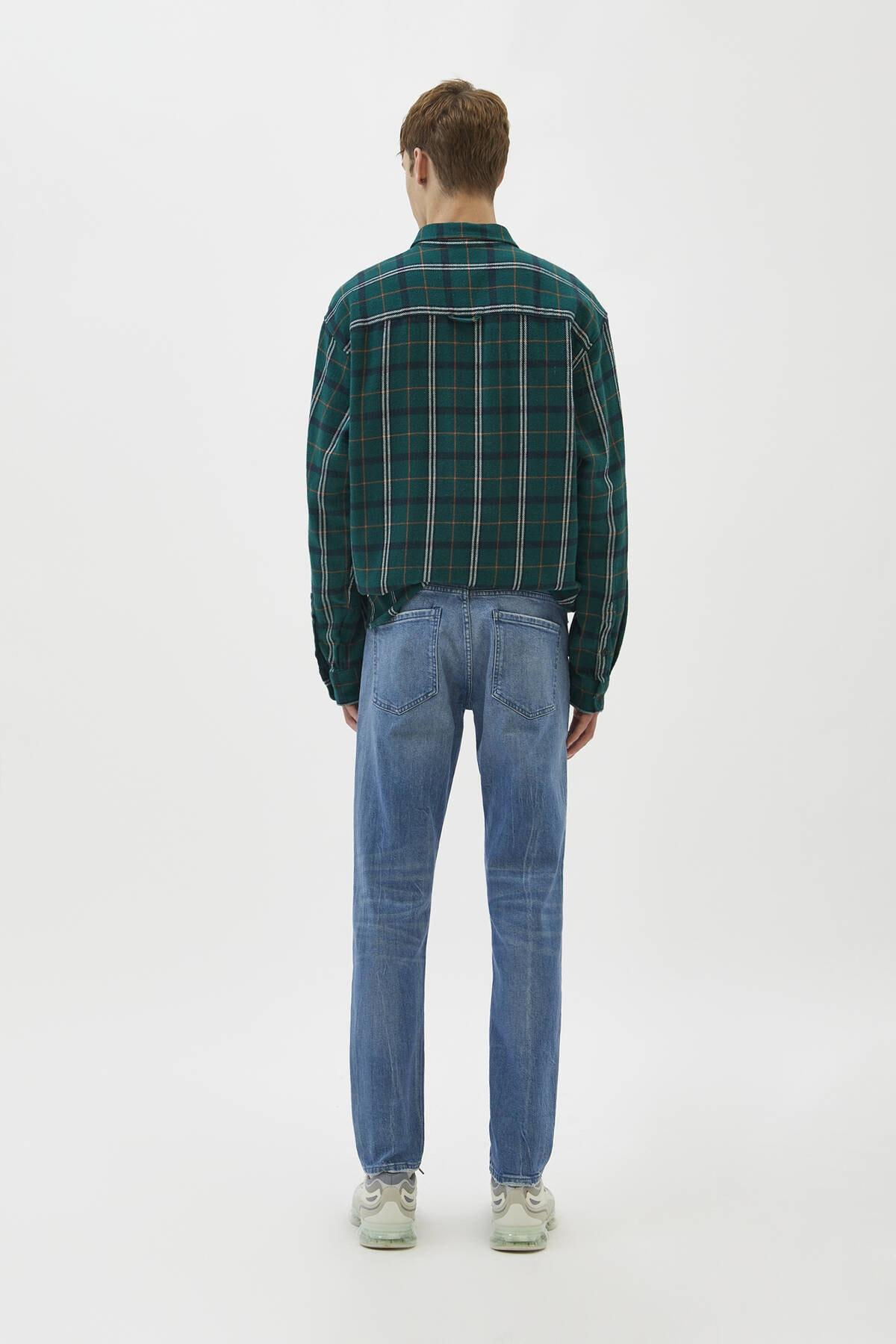 Pull & Bear Erkek Yeşilimsi Mavi Comfort Slim Fit Jean 04681504 3