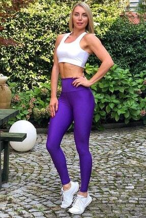 Alışveriş Sokağı Kadın Mor Scrunch Butt Leggings Arkası Büzgülü Yüksek Bel Spor Tayt 0