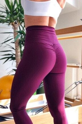 Alışveriş Sokağı Kadın Mor Scrunch Butt Leggings Arkası Büzgülü Yüksek Bel Spor Tayt 1