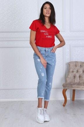 Modaca Kadın  Açık Mavi Mom Style Lazer Detay Jean 1