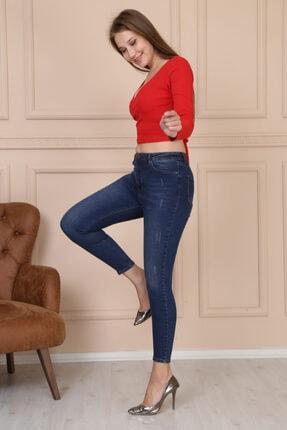 Modaca Kadın Koyu Mavi Ön Tırnak Detay Jean 3