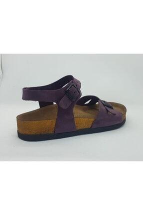 ÇELEMLİ Kadın Mor Deri Sandalet 1