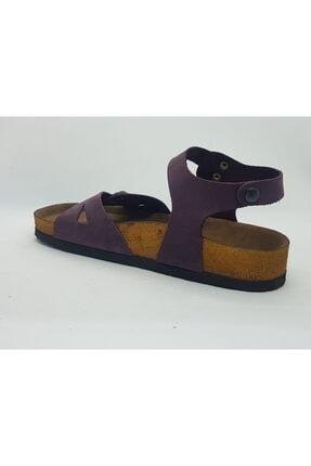 ÇELEMLİ Kadın Mor Deri Sandalet 2