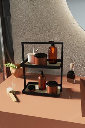 LİLLA HOME İki Katlı Dikdörtgen Krem Deri Mutfak Takı Makyaj Banyo Düzenleyici Organizer 35 cm 1