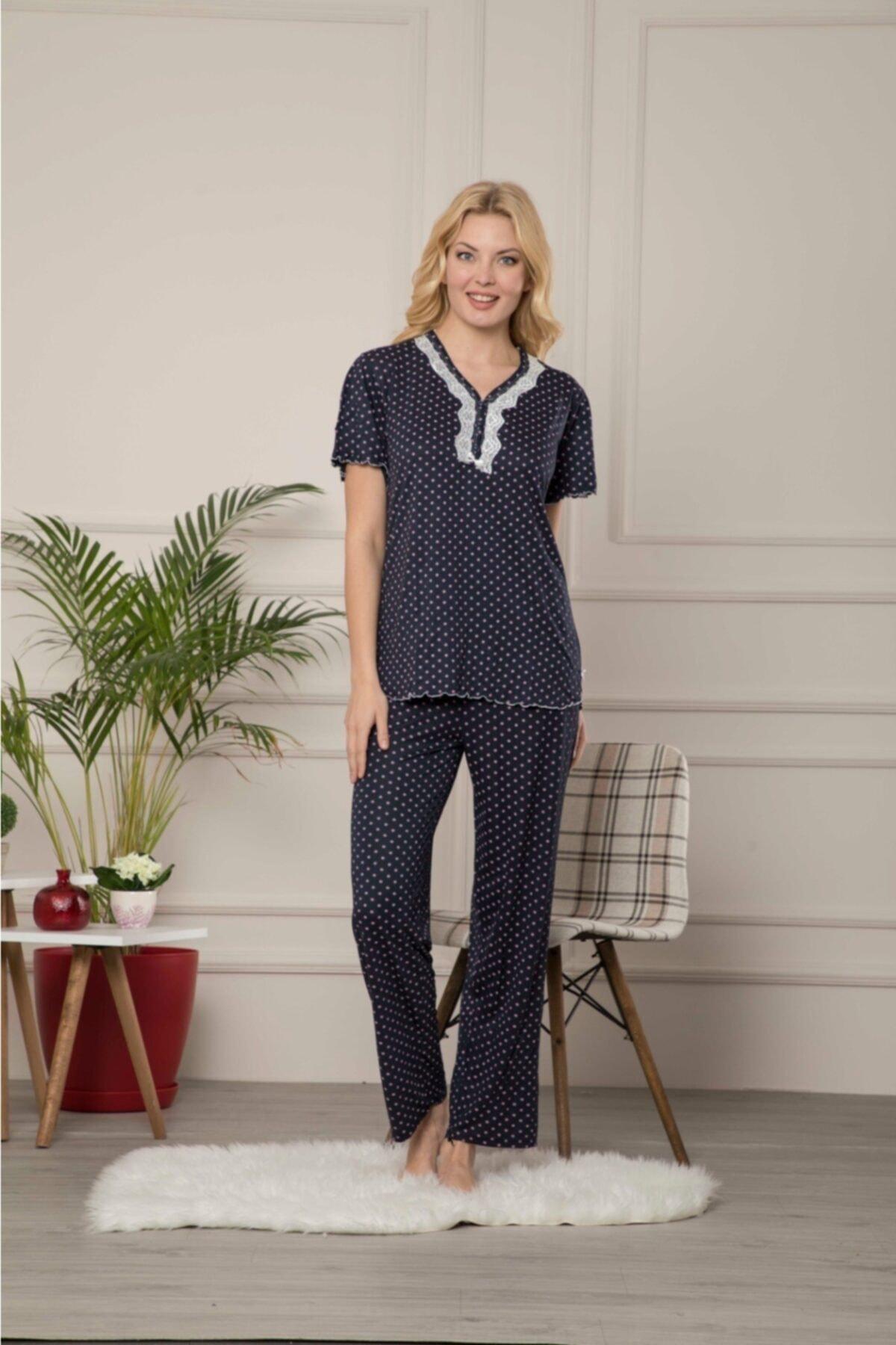 Lila Viskon Pijama Takımı