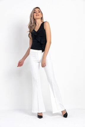 Zafoni Kadın Beyaz Ispanyol Paça Kumaş Pantolon 2