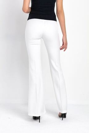 Zafoni Kadın Beyaz Ispanyol Paça Kumaş Pantolon 3