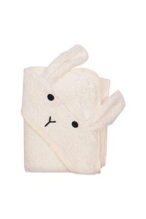 Cigit Bebek Kulaklı Tavşan Nakışlı Banyo Havlusu 75x75 cm 0