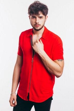 Karpefingo Erkek Kısa Kol Fermuarlı Kırmızı Gömlek - 43853 3