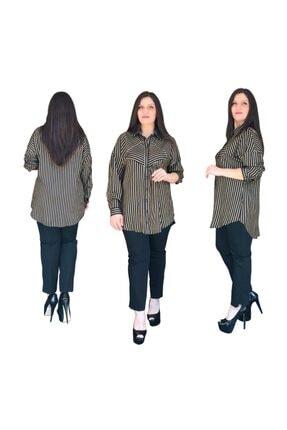 Kadın Bordo T Kol Çizgili Gömlek 17077