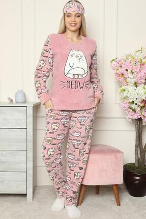 Pijamaevi Pembe Big Cat Desenli Kadın Peluş Pijama Takımı 1