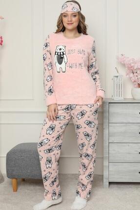 Pijamaevi Just Bear Desenli Kadın Peluş Pijama Takımı 1