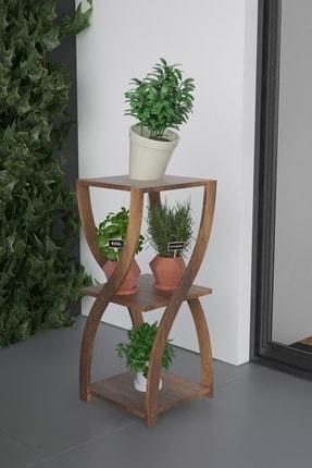Platinreyon Kum Saati Modeli Saksılık Çiçeklik Saksı Standı Barog Ceviz 1