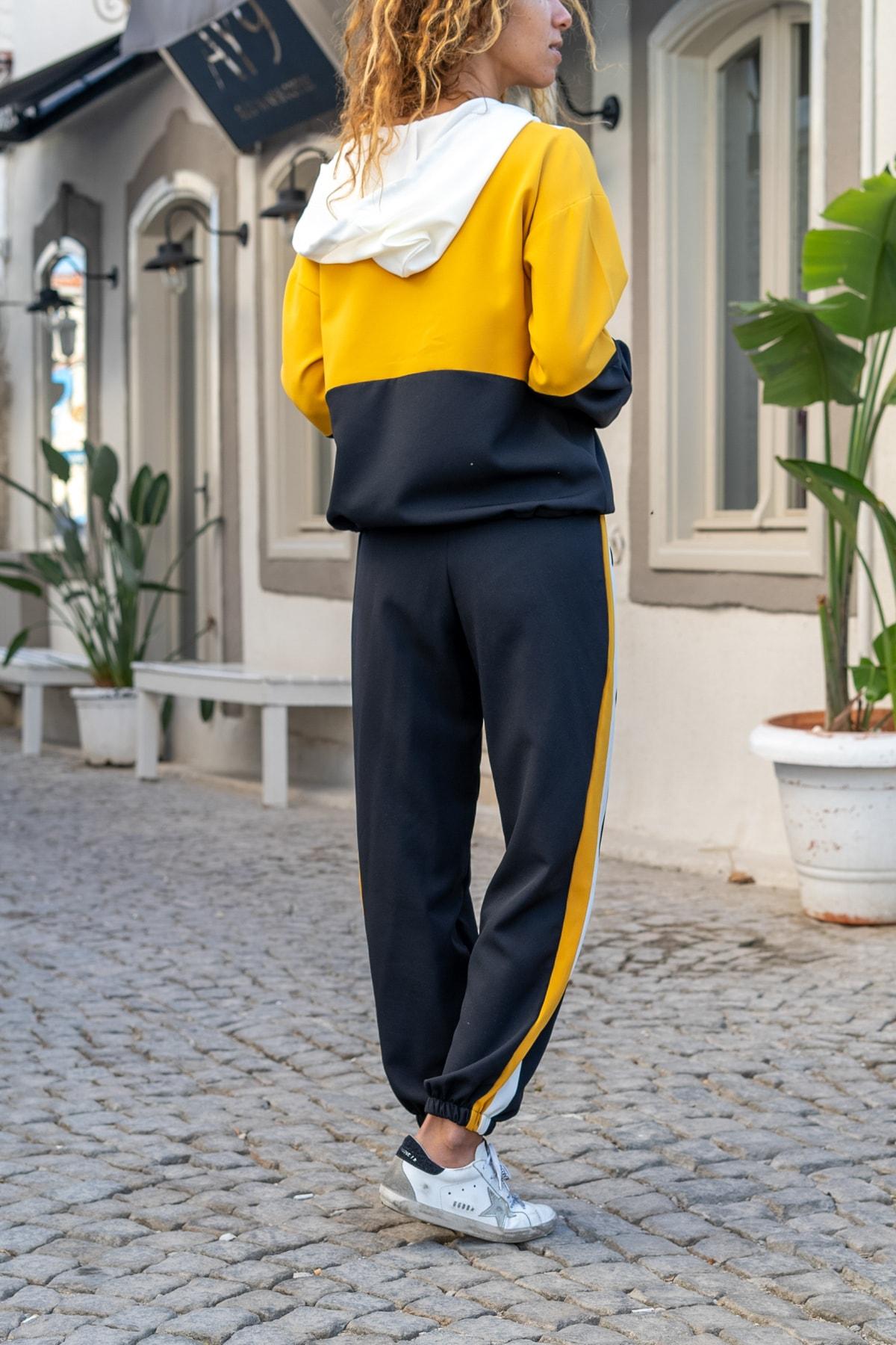 Güneşkızı Kadın Siyah-Sarı Kapüşonlu Color Block Alt-Üst Takım GK-AYN1796 1