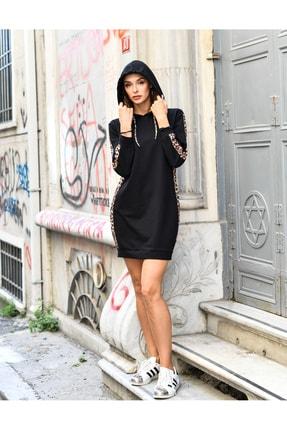 Grenj Fashion Kadın Siyah Yanda Ve Kolda Leopar Şerit Detaylı Kapüşonlu Mini Boy Örme Sweat Elbise 1