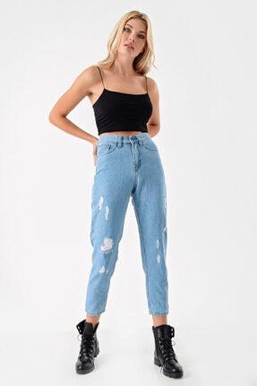 Modakapimda Kadın Mavi Yırtık Detaylı Mom Jean Pantolon 1