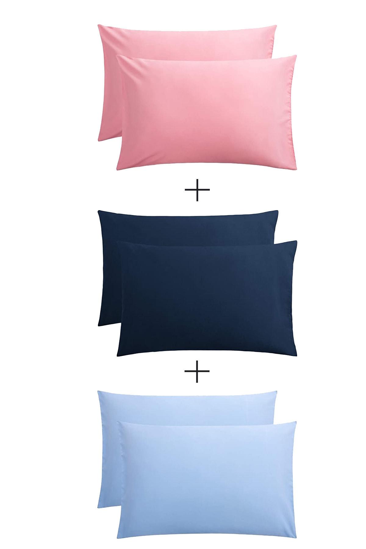 Stella Flavo 6'lı Yastık Kılıfı 50x70+20cm Kapaklı Pembe-lacivert-mavi